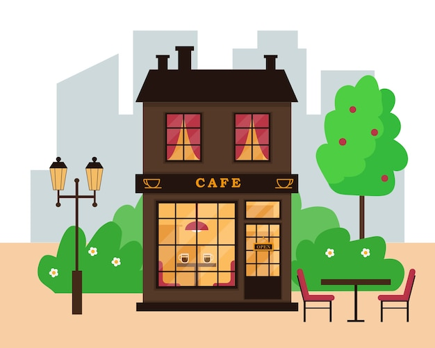 Street cafe building in modern city. cafe exterior.