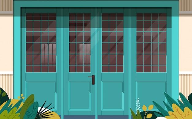 ストリートカフェ外観モダンなコーヒーショップドア入り口ない人レストランファサードクローズアップ