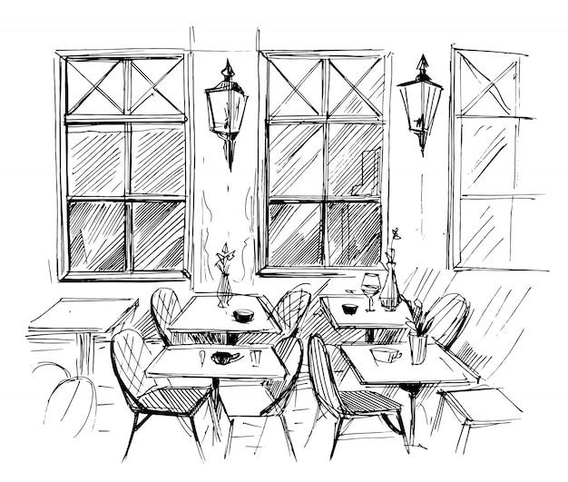 Уличное кафе. ручной обращается эскиз.