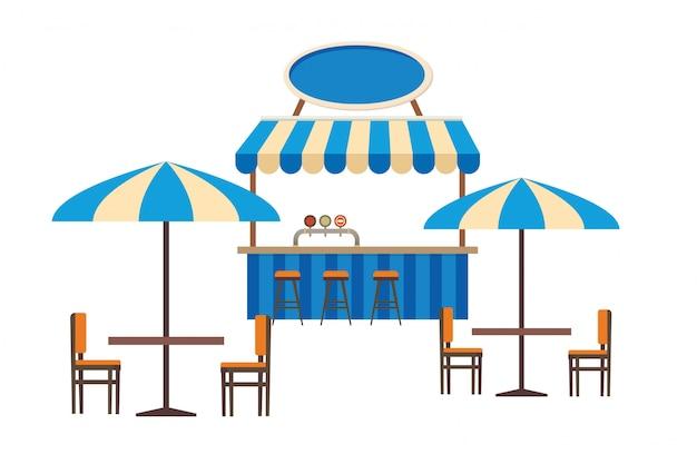 거리 카페 또는 야외 레스토랑 평면 벡터