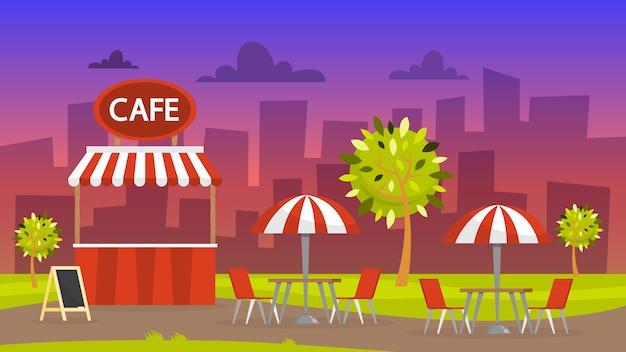 Уличное кафе. кафетерий под открытым небом. ночной городской пейзаж