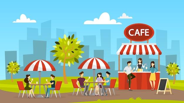 Уличное кафе. люди сидят за столом