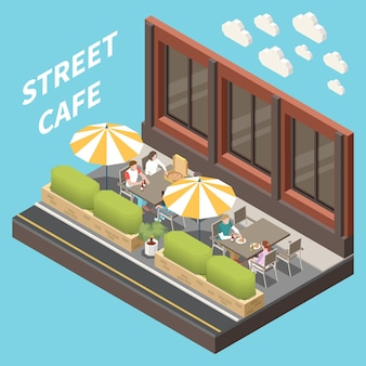 Concetto isometrico e colorato della terrazza del caffè di strada con due tavoli e grandi ombrelloni