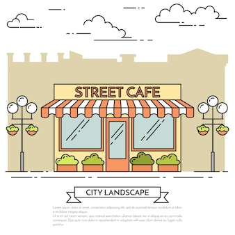 Street cafe with lamps, flowers on white background. vector illustration. line art.