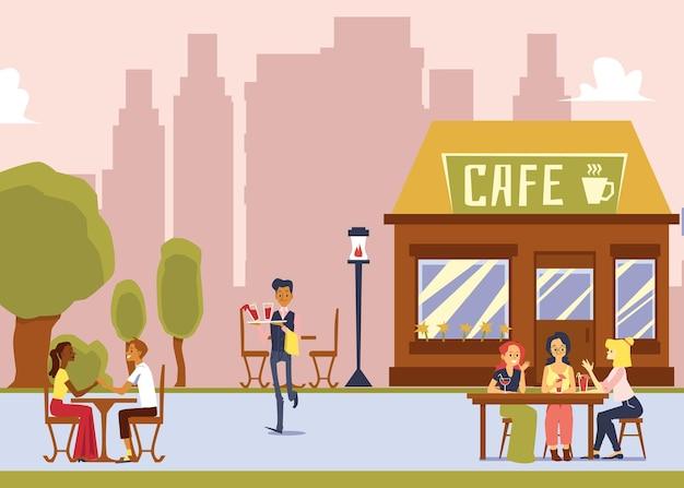 屋外席のあるストリートカフェ-テーブルの後ろに座っている女性客に飲み物を提供する漫画のウェイター。シティレストランの外観のフラットなイラスト。