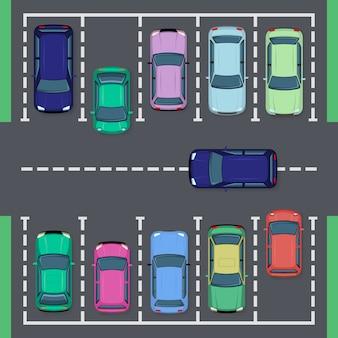 路上駐車。トップビューストリート車両、公共駐車場ビュー、自動輸送駐車場、シティオートパークイラストセット。上からのガレージ