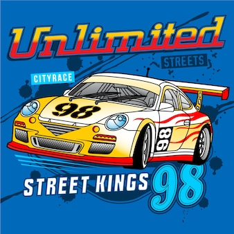 Street car racing,car vector illustration