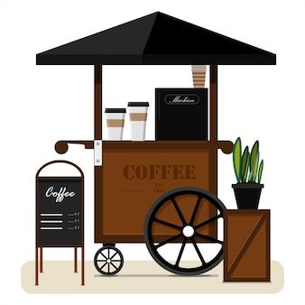 캐노피와 휴대용 노점의 커피 평면 벡터 일러스트를 판매하는 거리 카트