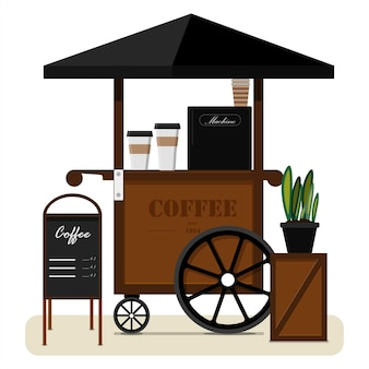 Street cart selling coffee flat vector illustration of a portable street stall with a canopy