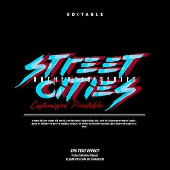 거리 도시 도시 사이버 펑크 텍스트 효과 편집 가능한 프리미엄 벡터