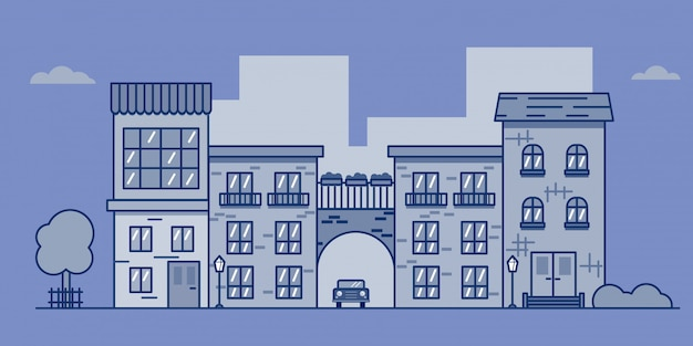 Street in the city. vector illustration in flat style. eps 10.