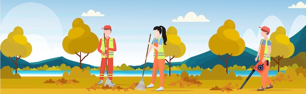 Street cleaners team working together sweeping lawn raking leaves cleaning service teamwork concept city park autumn landscape background full length flat horizontal