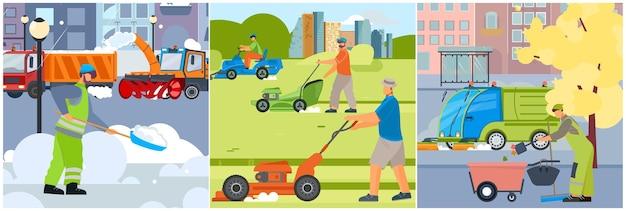Набор для уборки улиц из трех квадратных иллюстраций