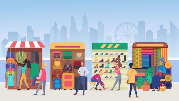 Иллюстрация уличного рынка одежды.