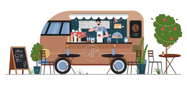 Street coffee food truck shop illustration. cartoon flat fastfood cafe delivery car van machine with man hipster seller character, coffee service in summer city street market isolated on white
