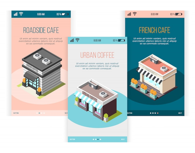 Street coffee isometric banners set