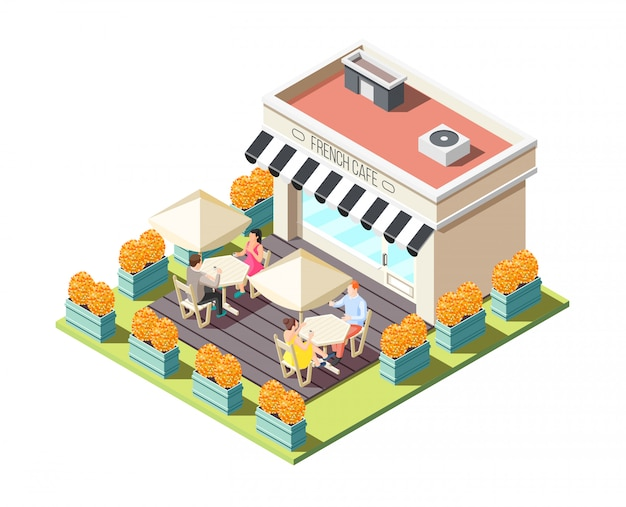 Street coffee isometric composition