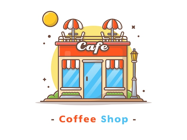 Street coffee shop building vector illustration