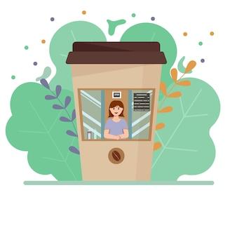 커피 한 잔의 형태로 된 거리의 커피숍. 평면 벡터 일러스트 레이 션