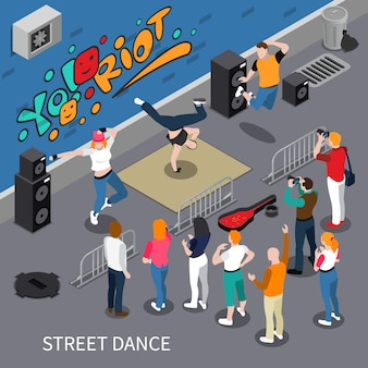 Street dance isometric composition