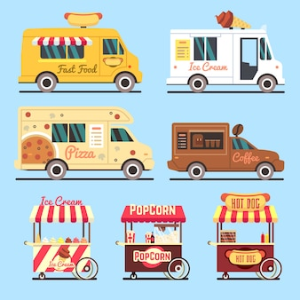 Street fast food delivery trucks flat set. food street fast truck