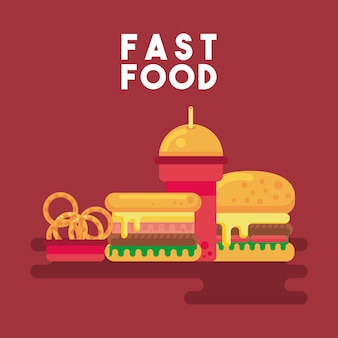 Street fast food and lettering icons