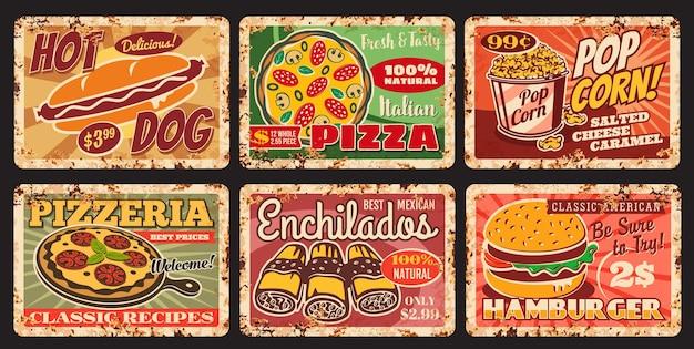 Street fast food restaurant meals rusty plates