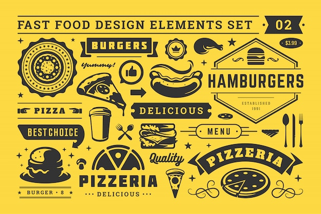 Street and fast food signs and symbols with retro typographic design elements vector set for restaurant menu decoration