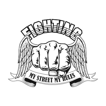 Street fighter emblem vector illustration. fists with wings, text on ribbon