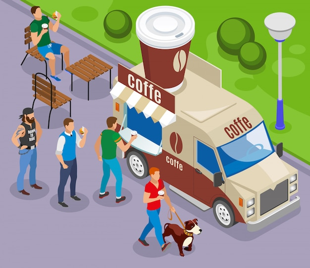 Street food car with trade of coffee isometric composition with customers in queue
