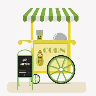 Street food cart with sweet corn flat vector illustration selling corn in cups at fairs street