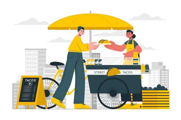 Иллюстрация концепции уличной еды