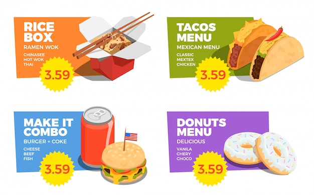 Street food concept set