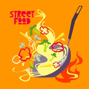 Street food   design. wok illustration