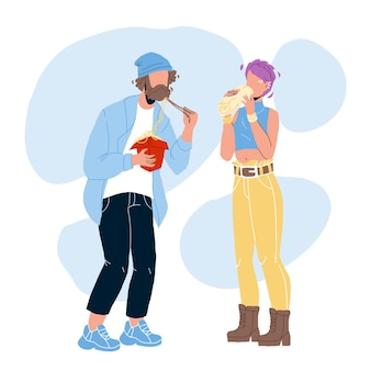 Street food eating boy and girl couple vector. friends enjoying chinese take away wok and sandwich shawarma fast food. characters man and woman eat nutrition flat cartoon illustration