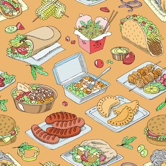 Уличная еда фастфуд бургер или жареные колбаски и традиционная кухня тако или фалафель иллюстрации набор быстрых закусок шаурмы и куриного шашлыка