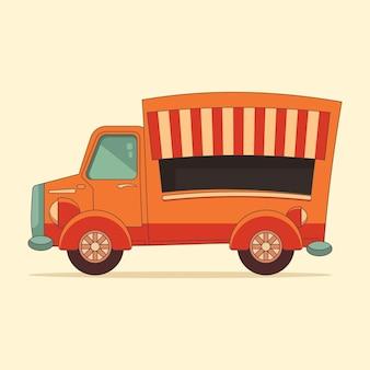 ストリートフードファーストフードフードトラックフラットデザインベクトル図