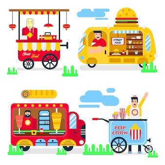 Street food or fastfood vendor vans vector flat icons.