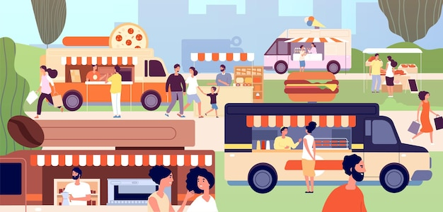Фестиваль уличной еды. фестивальные магазины продавцов, открытый бизнес. грузовики быстрого питания и киоски, мероприятие в парке