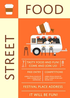 Street food festival invitation poster in flat style