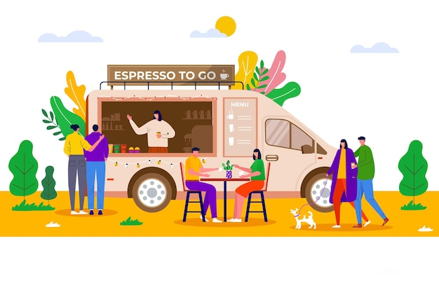 Street food festival, people buying coffee in truck, vehicle. coffee shop, cafe with barista
