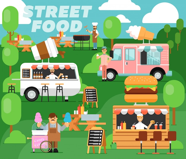 Street food festival poster in flat style