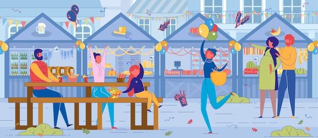 ブースと食堂のあるストリートフードフェスティバル。