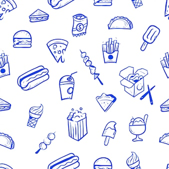 Street food hand drawn seamless pattern illustration
