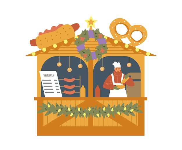Street food hot dogs and pretzels stall with seller and christmas decorations