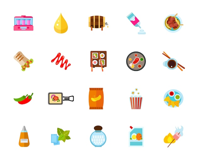 Street food icon set