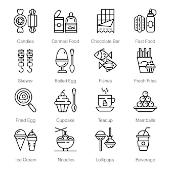 Street food icons pack