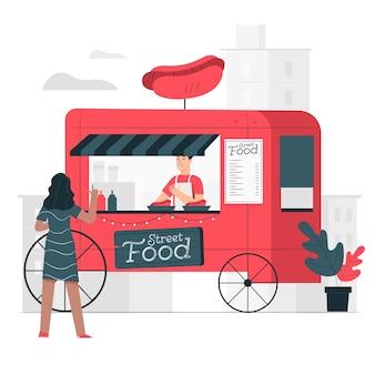 屋台の食べ物イラストコンセプト