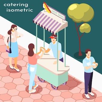 公園の屋台の食べ物等尺性構成図