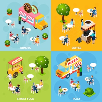 Street food isometric vector image with characters